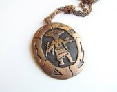 SALE-Vintage Native American Copper Necklace c.1970s