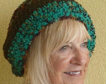Winter Accessories Women's hat Crochet winter hat Black Green ski accessories