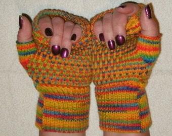 Fingerless gloves knit from merino wool, wrist warmers rainbow