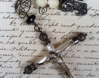 LA FOI - Terrific Rosary-Style Necklace with Antique Mother of Pearl, Blue Iolite, Antique French Cross and Fleur de Lis