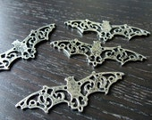 Destash (3) Ornate Lace Flying Bat Charms Pendants connector - for pendants, jewelry making, crafts, scrapbooking