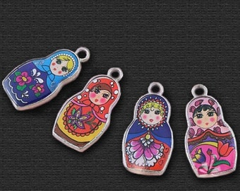 Destash (16) Mix Russian Doll Matryoshka Charms multi-coloured - for pendants, jewelry making, crafts, scrapbooking