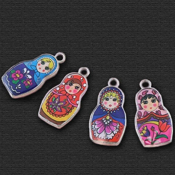 Russian Doll Matryoshka Charms multi-coloured - for pendants, jewelry ...