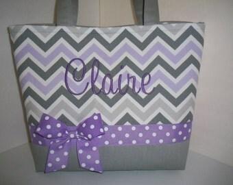 Purple Grey Chevron Diaper Bag / Tote / Purse- Personalization Available