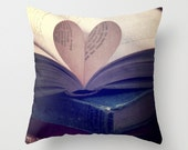 A love for books, Pillow Cover, Made to order, Heart Book, Dark, Whimsical, Gift for readers, Vintage books, Romance, Novel, library, art