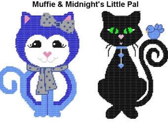 Plastic Canvas Muffie and Midnight's Little Pal Wall Hanging PDF FORMAT Instant Download