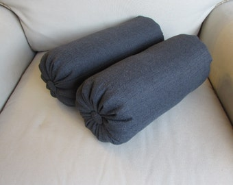 PAIR lumbar accent bolster pillows 7x18 7x20 7x22 in CHARCOAL