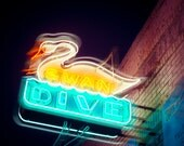 Neon Sign Art, Fine Art Photography, Swan Dive, Bar Sign, Austin Texas, Sixth Street, Neon Lights, Modern Home Decor, Rock n Roll Wall Art