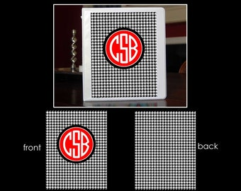 Houndstooth Personalized Monogram Notebook Insert for 3 Ring Binder or Printable