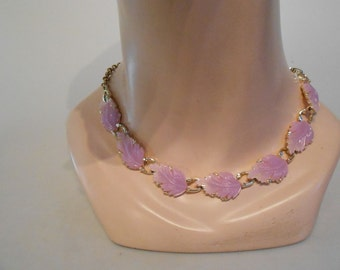Lilac Foliage in May - 1950s Lilac Lavender Lucite Leaves on a Choker Necklace