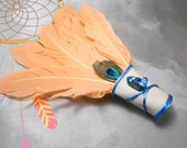 Peach Goose Feather Ceremonial Smudge Fan - Medium