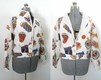 Vintage 1980s Silk Bomber Jacket Baroque Coat of Arms Quilted Short Cropped