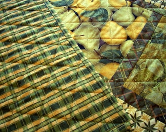 Golden Pears Table Runner Leaves Green Gold Quilted Handmade