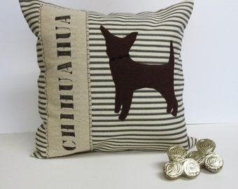 Brown Felt Chihuahua Pillow - Felt Chihuahua Silhouette Applique Pillow - Decorative Accent Pillow
