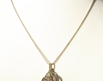 Vintage French Sterling Silver Heart Pendant 'Our Lady of Good Help' Necklace Mother Mary