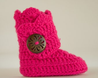 Hot Pink Infant Crochet Shell Wrap Boots- Choose Your Size