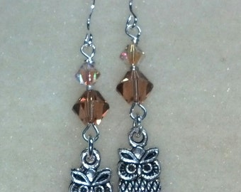 Owlet and crystals earrings