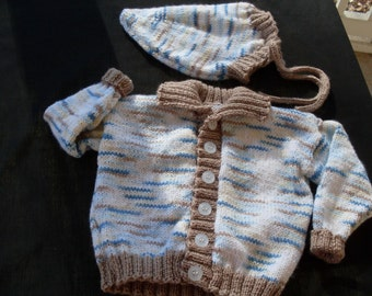 Hand knit boy's sweater set with hat