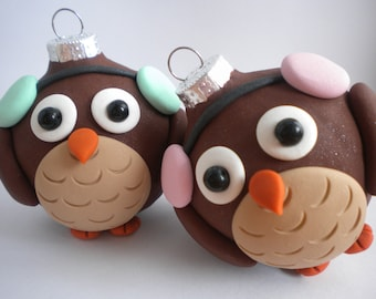 Owl Winter Christmas Ornaments