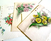 Vintage Used Greeting Cards, Floral Themes Set of 3, 1930's, 1940's Paper Ephemera
