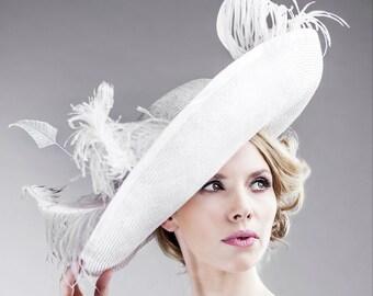 SALE Victorian Inspired Hat Women's Accessories Designer Hats Handmade Delicate Natural Sisal Straw in Pale Pink Up Brim Wedding Classic Hat