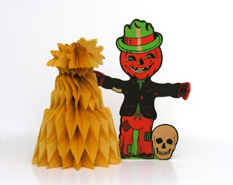 Skull & Jack O Lantern Vintage Halloween Party Decoration Honeycomb Corn Shock