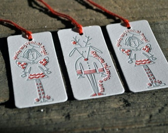 Guest Artist, B. Fabing, Holiday Letterpress Tags - Set of 6