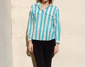 SALE!!!!!!!!!! Aqua striped cotton blouse 1990s 90s VINTAGE