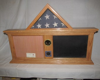 Oak Flag, Document and Shadow Box Custom Display with Challenge Coin Display and Service Medallion