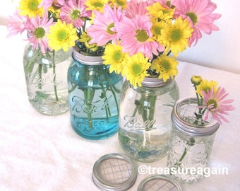 24 Mason Jar Gift Flower Lids Garden Party Favors Bulk Mason Jar Flower Frog Lids, Showers, Event, DIY Home Party Decor, Flower LIDS only