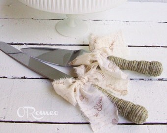 Rustic Cottage Chic Muslin Wedding Cake Server and Knife Set - Engraving Optional - Select Colors To Match Your Theme
