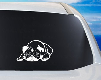 Pouting Pug vinyl car window decal, dog, animal lover, pugs sticker, black pugs, cute puppy, laptop tablet phone case decal, craft ideas