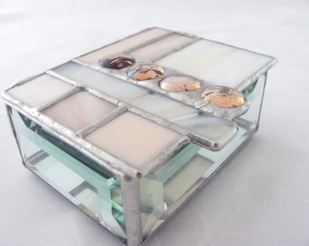 White Ivory Champagne Peach Apricot Hand Crafted Geometric Stained Glass Box with Glass nuggets