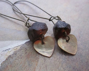 amber recycled glass and shell - the kaitlyn earrings