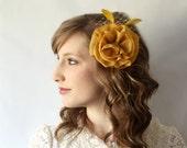 LAST ONE -Mustard Yellow Flower Fascinator