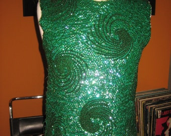 60s Green Sequins Knit Blouse