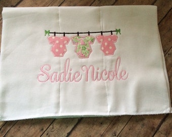 Onesie Clothes Line Burp Cloth with Name