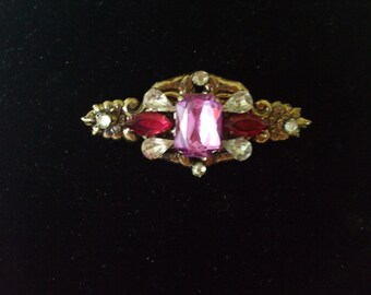 Pink and Clear Rhinestones Brooch or Pendant, vintage, Gifts for her, Pin,  Valentines Day,  #2850