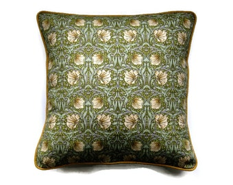 "William Morris ""Pimpernel""  late 90s vintage fabric, Arts and Crafts, green, beige, brown cushion cover, throw pillow cover, home decor."