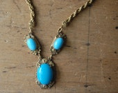 Vintage turquoise glass and gilt brass necklace ∙ TINKER CREEK