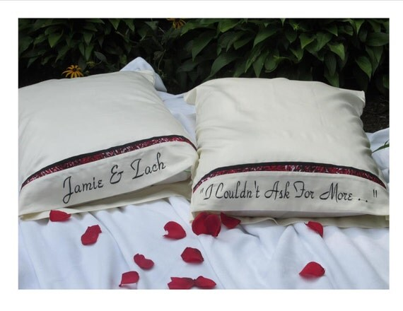 Personalised Wedding Gifts Pillow Cases : PERSONALIZED Pillow Cases Embroidered Wedding Gift Shower Gift ...