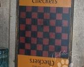 Game Board,Primitive, Folk Art, Gold Star Checkers