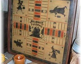 Halloween Parcheesi Gameboard, Primitive, Folkart, wall sign