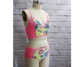 Neon Floral Modern Lingerie Set 'Lush' Handmade in Pink Yellow and Aqua Blue Handmade to Order