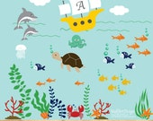 Ocean Theme Vinyl Wall Decal Set Sailboat Crab Fish Seaweed Starfish Octopus Dolphin Wall Decals