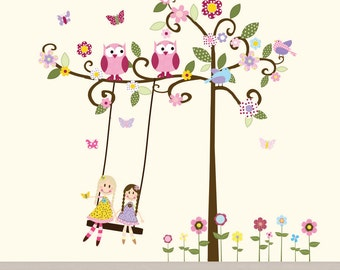 Swirl Tree Vinyl Decal with swing, dolls,owls,birds and butterflies nursery vinyl wall decal
