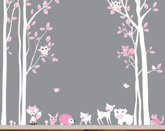 Birch Vinyl Nursery Wall Decal Birds Owls