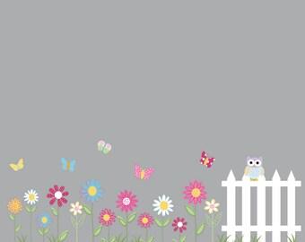 Custom listing Vinyl Wall Decal Stickers Daisy Flowers Butterflies