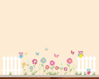 Vinyl Wall Decal Vinyl Wall Decal Stickers Daisy Flowers Butterflies Owls Fence