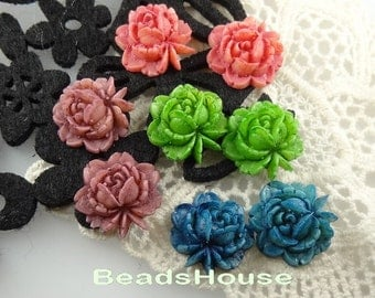 57-00-TY   6pcs  Tie-Dyed Beautiful  Rose Cabochon